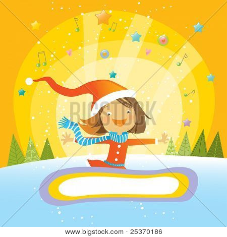 happy girl on a beautiful winter background, christmas vector greeting card, place for your text