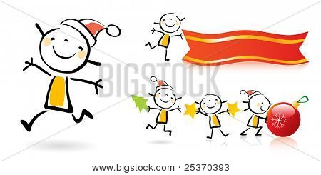 christmas children cartoons animated, cute girl character grouped and layered for easy editing.