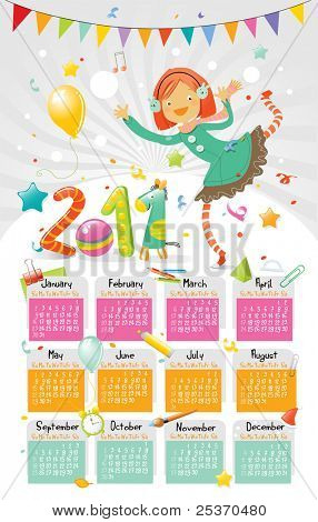 new year 2011 wall calendar for kids