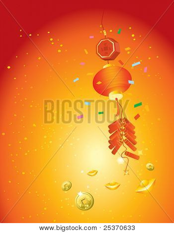Chinese New Year cluster of firecrackers petards vector background.Good luck and prosperity symbols