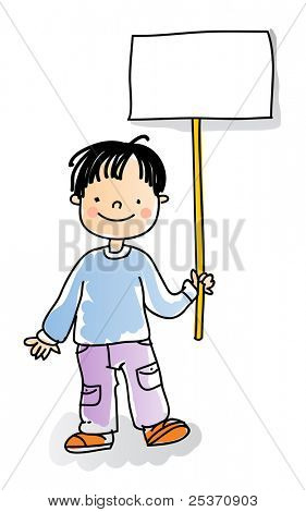 school boy holding blank sign,cartoon kids watercolor style series. grouped and layered for easy editing