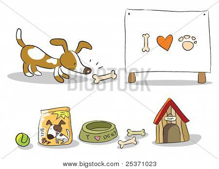 dog, pet items and banner vector set isolated on white