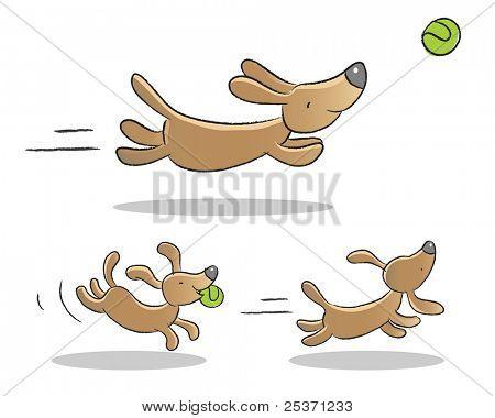 lindo cão jogando ilustrações animadas