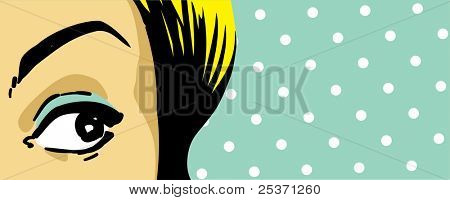 woman eye peeking, face expression close up, retro style