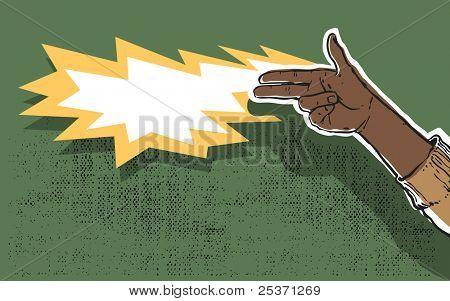 hand gun shooting, grunge illustration