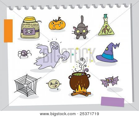 halloween cartoons funny elements set