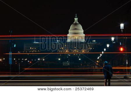 Capitol Building with car light trails and street lights, Washington DC USA