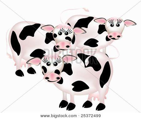 Group of cows, cartoon