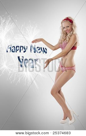 Pin Up Girl Wishing Happy New Year