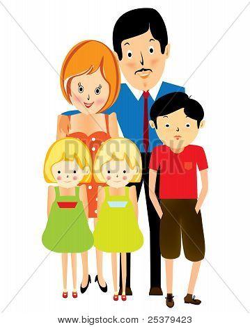 Happy suburban family, cartoon