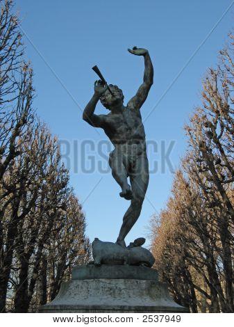 Paris - Flute Player Sculpture In The Luxembourk Park