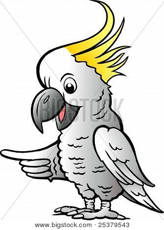 Hand-drawn Vector Illustration Of An Sulphur Crested Cockatoo