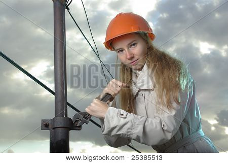 Girl in an orange helmet