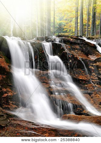 beatiful autumn waterfall