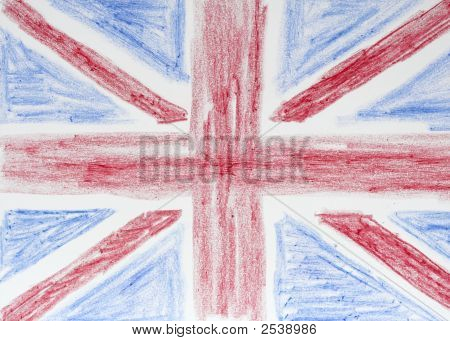 British Flag In Crayons