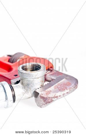 Pipe Wrench Fixing A Tap Joint