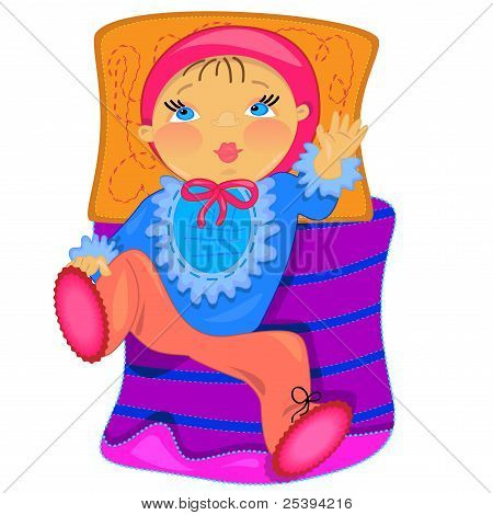 baby in bed. vector illustration.isolated character
