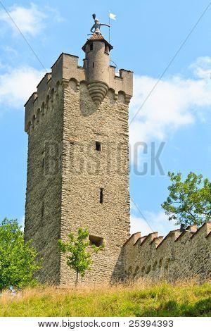 Luzern City Wall With Medieval Tower, Switzerland,