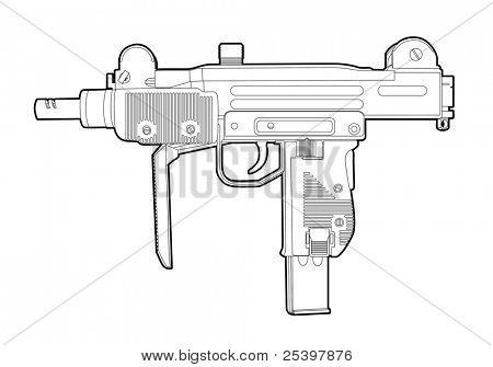 Outline vector uzi on white background