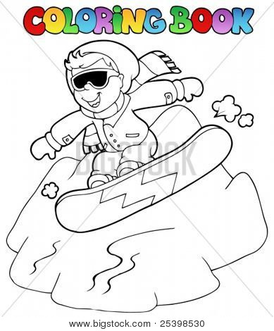 Coloring book boy on snowboard - vector illustration.