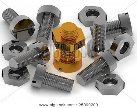 Bolts and nuts. 3d