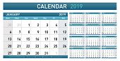 Calendar Planner 2019 Year. Simple Minimal Wall Type Calendar Template. Week Starts From Sunday. Vec poster
