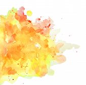 Abstract Spots Yellow And Orange Watercolor On White Background. The Color Splashing In The Paper. I poster