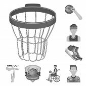 Basketball And Attributes Monochrome Icons In Set Collection For Design.basketball Player And Equipm poster