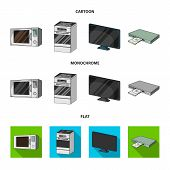 Home Appliances And Equipment Cartoon, Flat, Monochrome Icons In Set Collection For Design.modern Ho poster