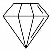 Diamond Stone Icon. Outline Diamond Stone Icon For Web Design Isolated On White Background poster