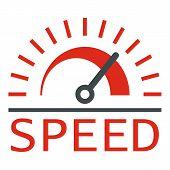 Speed Dashboard Logo. Flat Illustration Of Speed Dashboard Logo For Web Design poster