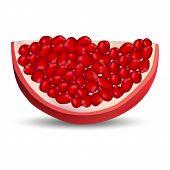 Slice Of Pomegranate Icon. Realistic Illustration Of Slice Of Pomegranate Icon For Web Design Isolat poster