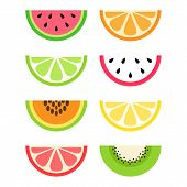 Set Of Citrus And Exotic, Tropical Fruit Slices; Watermelon, Orange, Lime, Dragon Fruit, Papaya, Lem poster