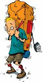stock photo of heavy backpack - Cartoon of a hiker with an extremely heavy backpack - JPG
