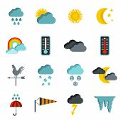 Flat Weather Icons Set. Universal Weather Icons To Use For Web And Mobile Ui, Set Of Basic Weather E poster