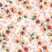 Japanese Cherry Blossom Branches Vector Seamless Pattern. Cherry Flowers, Buds, Petals Textile, Spri poster
