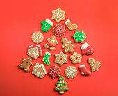 Christmas Tree Shape Made Of Tasty Homemade Cookies On Color Background, Top View poster