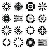 Loading Bars And Preloaders Icons Set In Simple Style. Progress Loading Set Collection Illustration poster