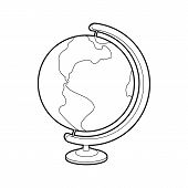 Globe Icon In Outline Style Isolated On White Background. Geography Symbol poster