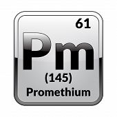 Promethium Symbol.chemical Element Of The Periodic Table On A Glossy White Background In A Silver Fr poster