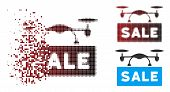 Vector Airdrone Sale Icon In Fractured, Dotted Halftone And Undamaged Solid Variants. Disappearing E poster