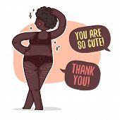 Design Banner With A Black Girl Plus-size. Illustration With A Cute Afro Cartoon Woman With Overweig poster