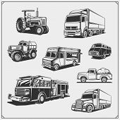 Set Of Cars. Cargo, Fire, Food Truck, Delivery Vehicle And Off-road Suv Car, Tractor And Pickup. poster