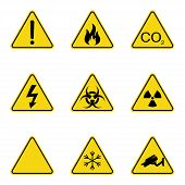 Set Of Triangle Warning Signs. Warning Roadsign Icon. Danger-warning-attention Sign. Yellow Backgrou poster