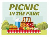 Recreation In Nature. Picnic. Picnic In The Park. Summer Picnic In The Park. The Concept Of Picnic A poster