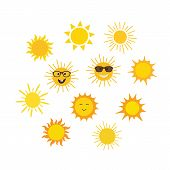 Funny Vector Doodle Sun. Set Of Suns In Cartoon Style poster