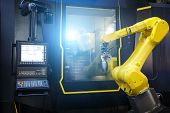 Robot Arm Motion Blur In Machine Tool Metalworking Process For Industry Manufacture, Cnc Metal Machi poster