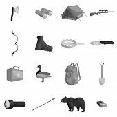 Hunting Icons Set In Black Monochrome Style. Hunters Elements Set Collection Illustration poster