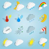 Isometric Weather Icons Set. Universal Weather Icons To Use For Web And Mobile Ui, Set Of Basic Weat poster