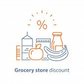 Grocery Food And Drink, Pile Of Products, Consumption Concept, Retail Store Loyalty Program, Supply  poster